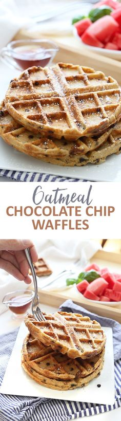 Sweet and crispy Oatmeal Chocolate Chip Waffles for the ultimate weekend brunch! These gluten-free and healthy waffles made from wholesome ingredients will become your new go-to breakfast recipe. All clean eating ingredients are used for this healthy breakfast recipe. Pin now to make later!