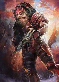 """""""They'll sing battle songs about this someday. Reaper blood has finally soaked our soil."""" Urdnot Wrex // Mass Effect 3 Commissioned work, commissions OPEN, info here Wrex Mass Effect, Mass Effect 1, Mass Effect Universe, Mass Effect Characters, Mass Effect Games, 3 Characters, Cyberpunk, Bioware Games, Commander Shepard"""