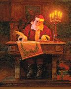 Christmas Art Print featuring the painting Making A List by Greg Olsen Ward Christmas Party, Father Christmas, Christmas Holidays, Merry Christmas, Christmas Decor, Magical Christmas, Christmas Scenes, Vintage Christmas, Christmas Ideas