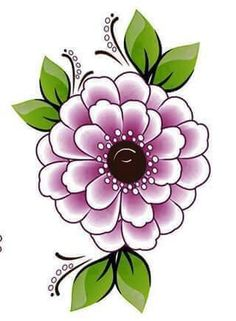Black outline flower