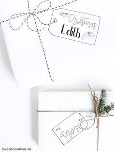 Etikett auf Geschenkpapier malen | Draw Christmas Tags on Wrapping Paper