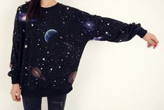 cosmic space galaxy star print sweatshirt tshirt black. $40.00, via Etsy.