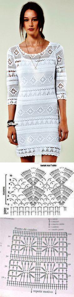 Платье филейное вязание крючком схемы. Крючок вязание филейный узор платья. | Домоводство для всей семьи.