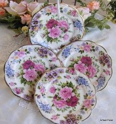Image detail for -Porcelain China Chintz Dessert Plate s Set 4 Luncheon | eBay