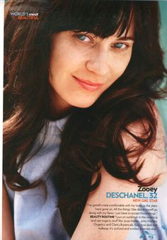Zooey Deschanel without fake lashes or make-up and retouching. Still a beautiful lady. From People magazine.