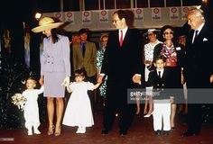 Prince Rainier III of Monaco arrives with daughter Princess Caroline's family and son Prince Albert at Fontvielle for the Flower Show in April 1989 in Monte Carlo, Monaco.