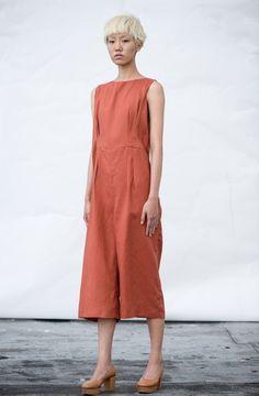 Bumt orange jumper-dress, lightly shaped with released tucks : :Wolcott Takemoto