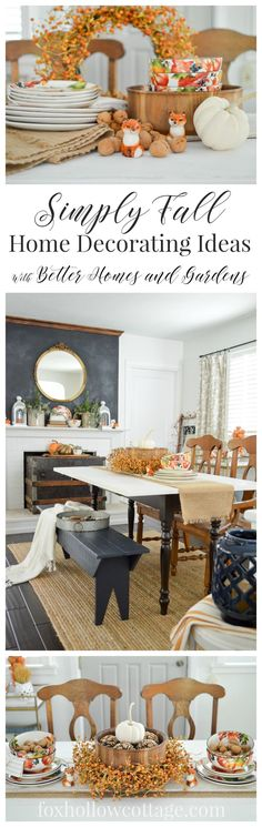 Easy Autumn Home Decorating: Simple Fall Table - Fall at Fox Hollow Cottage - Decorating doesn't have to difficult, overdone or bust your budget! I share affordable, simple ways to adorn your home with pretty decor, from Walmart! sponsored pin.