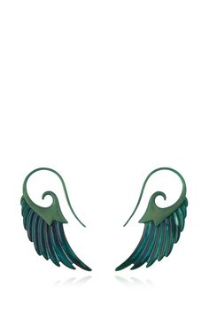 Fly Me To The Moon Green Mother Of Pearl Wing Earrings by Noor Fares for Preorder on Moda Operandi