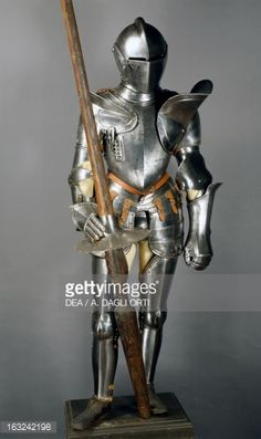 Stock Photo : Tournament armor in steel with lance in steel and wood, 1560-1580, Italy, 16th century