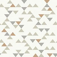 Triangle Grey & Copper Wallpaper