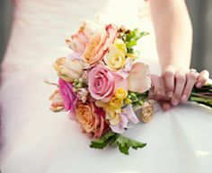 Pink, yellow and green wedding bouquets - The Wedding SpecialistsThe Wedding Specialists