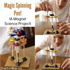 Magic Spinning Pen - A Magnet Science Experiment for Kids - Frugal Fun For Boys and Girls Magic Spin Science Experiment Kits, Cool Science Experiments, Science Fair Projects, Science For Kids, School Projects, 1st Grade Science, Science Curriculum, Elementary Science, Teaching Science
