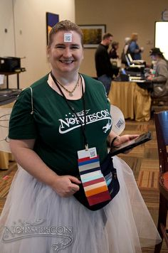 "Norwescon 37 | Friday | Wandering   The Guidebook fairy: prove you have the NWC37 Guidebook on your smartphone or tablet and get an ""I has direction"" badge ribbon!"