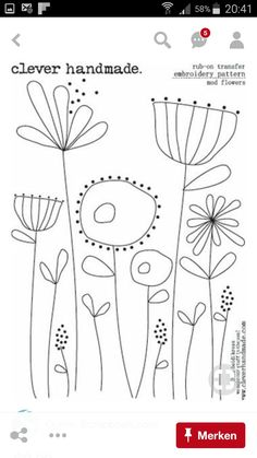Vintage Embroidery Patterns Free hand embroidery pattern f Free Motion Embroidery, Hand Embroidery Stitches, Crewel Embroidery, Cross Stitch Embroidery, Machine Embroidery, Hand Stitching, Knitting Stitches, Embroidery Digitizing, Beginner Embroidery