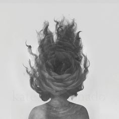 Wild - Double Exposure Surreal Fine Art Silhouette Black White Rose Flower Hair Floating Girl Woman Portrait Petals Photography Photo Print
