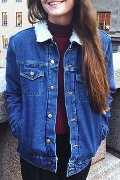 Faux Fur Flat Collar All Match Denim Thicken Coat