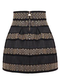Black High Waist Rivet Striped Skirt   Choies