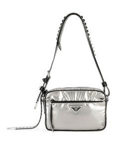 023ff3189af Prada Black Nylon Shoulder Bag with Studding