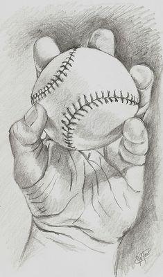 Baseball In Hand Art Print by Jason Yaw Baseball Drawings, Sports Drawings, Baseball Art, Baseball Nails, Baseball Videos, Baseball Players, Pencil Art Drawings, Art Drawings Sketches, Pencil Drawing Tutorials