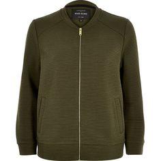 River Island Khaki bomber jacket ($80) ❤ liked on Polyvore featuring outerwear, jackets, bomber jackets, coats / jackets, khaki, women, jersey jacket, blouson jacket, khaki jacket and river island