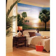 Palm Tree Chair Rail Prepasted Mural...
