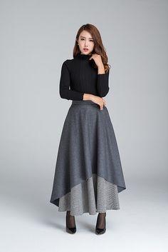 Dark grey skirt long skirt warm winter skirt black and by xiaolizi