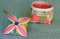 Cathedral Window Pincushion and thread basket by Abby from Things For Boys