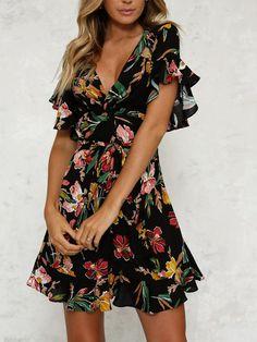 Black Floral Printed Frill Sleeve V Neck Beach Mini Dress. Vestito Da  EstateAbiti ... ddfbbb4adbd