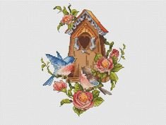 Birdhouse counted cross stitch pattern Pair of birds pattern Cross Stitch Tree, Cross Stitch Charts, Counted Cross Stitch Patterns, Bird Patterns, Hand Embroidery Patterns, Bunny Love, Cross Stitch Tutorial, Cross Stitch Kitchen, Halloween Cross Stitches
