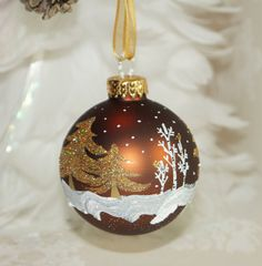 Brown Christmas Ornament, Gold Cardinals Perch on Aspen Trees with Gold Glitter Pine Trees N Falling Snow- Hand painted Christmas… Painted Christmas Ornaments, Red Ornaments, Hand Painted Ornaments, Christmas Balls, Christmas Holidays, Christmas Crafts, Christmas Tree Decorations, Holiday Decor, Christmas Paintings