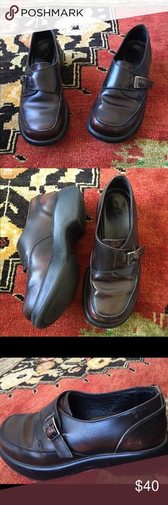 Dansko Burgundy Oxfords Penny loafers Deep Burgundy color with buckle details. Pet and smoke free home  Good overall condition Dansko Shoes Flats & Loafers