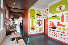 My Burger Restaurant Design - by Fame. Graphic walls are so hot right now! Minneapolis, Environmental Graphic Design, Environmental Graphics, Office Wall Graphics, Restaurants, Communication Art, Wayfinding Signage, Signage Design, Restaurant Design
