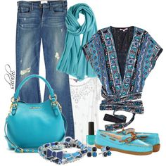 """Blue Silk Kimono"" by shuchiu on Polyvore. Love the top, scarf belt & accessories. Not the jeans nor the shoes."