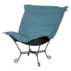 Howard Elliott Scroll Puff Mojo Accent Chair Turquoise Titanium Frame - 500-250