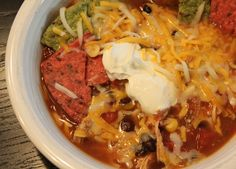 Southwest Chicken Tortilla Soup.  Made in the crock pot, very easy prep (10min) and SO yummy.  Healthy too. :)