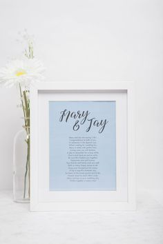 Personalised rhyme gift frame written about a couple Customised Gifts, Personalised Gifts, Personalized Invitations, Personalized Wedding Gifts, Unique Wedding Stationery, Wedding Stationary, Love Vows, Stationary Design, Wedding Favours