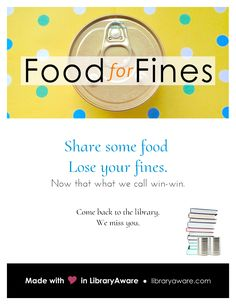 We like win-win solutions.Like food for fines programs. That's why we made new flyers to help you promote your food for fines initiatives.Oh, you weren't planning on hosting one? Well maybe now we've inspired you.