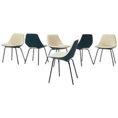 Set of Six Pierre Guariche Tonneau Dining Chairs for Steiner ca.1954