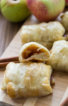 Easy Apple Croissants  •2 tablespoons unsalted butter, divided •1 cup diced apple that's been peeled and cored (about 1 medium) •1 tablespoon granulated sugar •4 tablespoons apple cider (or juice), divided •1 teaspoon cinnamon •1/2 teaspoon cornstarch •1 tablespoon water •1 sheet puff pastry, thawed according to package directions •1/2 cup powdered sugar