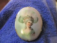 Large Victorian Porcelain Portrait Pin / Brooch ~ Beautiful !!