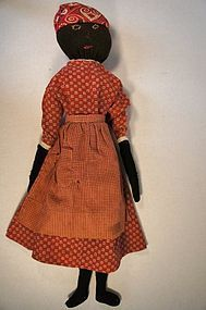 Black stockinette cloth doll with red calico dress19