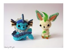 "The last two of the Chibi - ""Eeveelution"" Size: cm tall (with ears), 7 cm width (with tail) Materials: wool, hook, felt for the ears,. Chibi Vaporeon and Leafeon Amigurumi Crochet Gifts, Cute Crochet, Crochet Dolls, Crochet Yarn, Knitting Yarn, Pokemon Crochet Pattern, Amigurumi Patterns, Amigurumi Doll, Crochet Patterns"