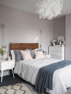 Soft blush pink bedroom reveal BEFORE AFTER - Farrow & Ball Peignoir - West Elm mid-century furniture
