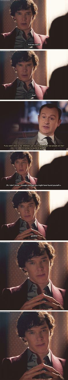 Sherlock: Probably something about trying to make friends. Mycroft: Oh yes. Friends. Of course, you go in for that sort of thing now.