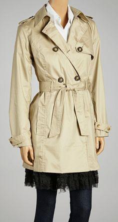 Khaki Double-Breasted Trench Coat