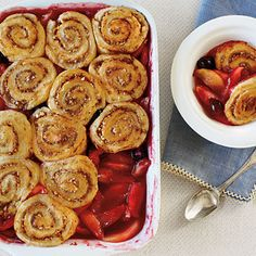 Apple-Cherry Cobbler with Pinwheel Biscuits - Crazy-Good Fruit Cobbler Recipes - Southern Living