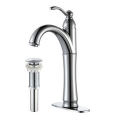 KRAUS Riviera Single Hole Single-Handle Vessel Bathroom Faucet with Matching Pop Up Drain in Chrome - The Home Depot Vessel Faucets, Bathroom Sink Faucets, Lowes Home Improvements, Home Depot, Faucet Handles, Polished Chrome, Pop, Water Waste, Chrome Finish