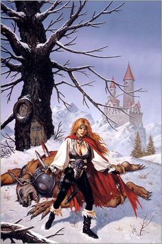 Clyde Caldwell - cover art for Glenraven  - bk 2 - In the Rift by MZB & Holly Lisle