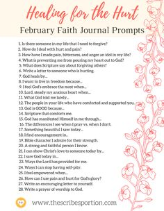 Healing for the Hurt: February Journal Prompts Wellness Journal - A Peaceful Voyage of Self Pages Wide Format Lay-Flat Coil Binding This daily journal challenges you to get take a voyage of self-discovery, health, Bullet Journal Prompts, Gratitude Journal Prompts, Journal Quotes, Journal Topics, Bible Journal, February Journal, February Challenge, Journal Questions, Therapy Journal